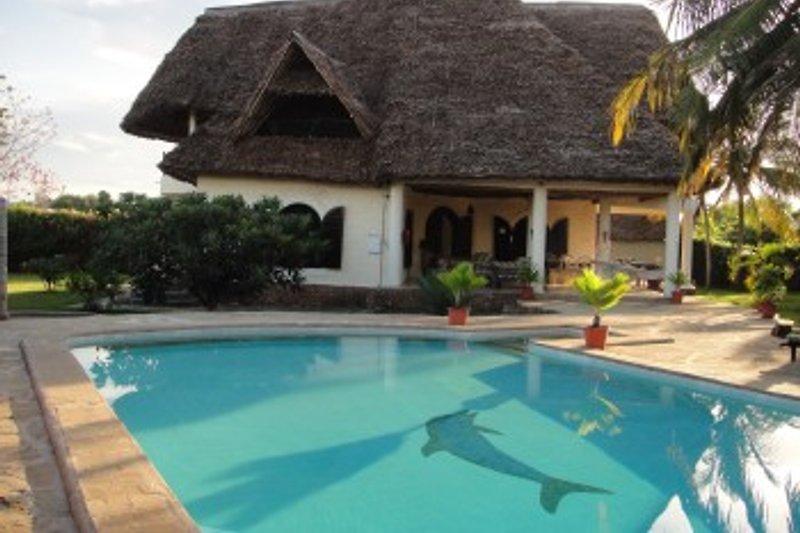 Blick zum Haus mit eigenem Pool