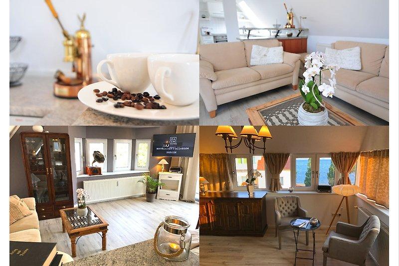 Mit PKW-Stellplatz, Gäste/ -Lesezimmer, voll ausgestattete Küche, 2x TV + kostenloses WLAN/ WiFi und Moviethek