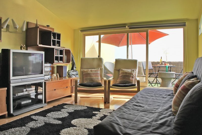 Living room with double sofa bed, Wi-Fi, TV, DVD, Stereo and a large removable table