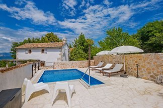 Rustic stone house JELA with pool