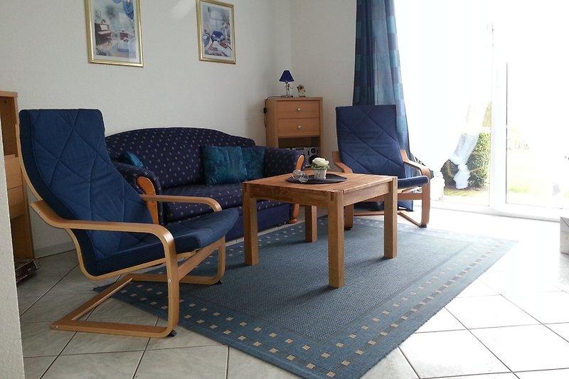Die gemütliche Sitzecke in der Ferienwohnung