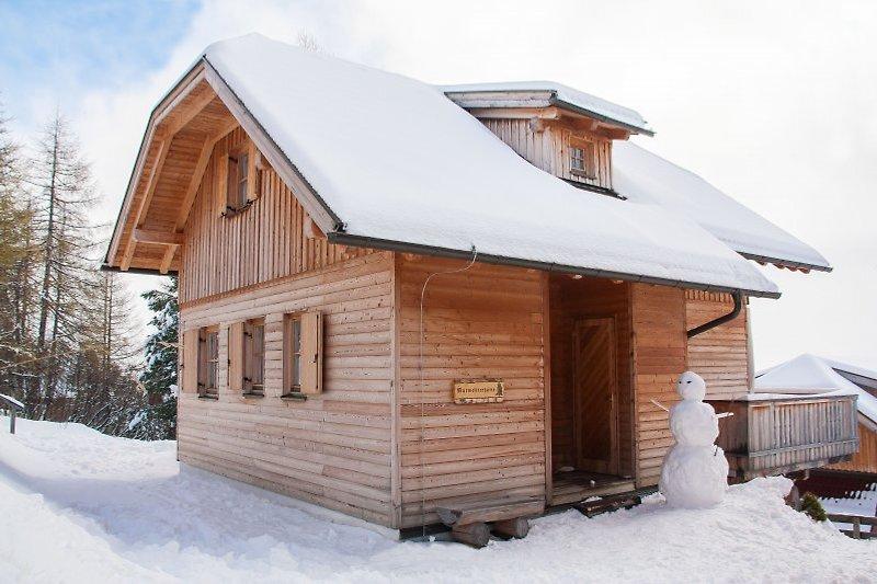 Die Murmeltierhütte im Winter