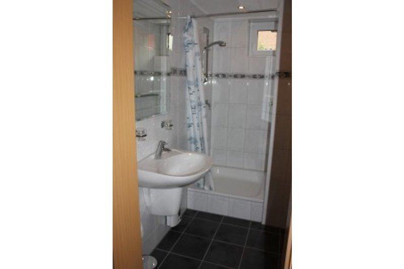 Das Badezimmer besteht aus einer Dusche, Waschbecken und einem WC. Neben einem Kosmetikspiegel und Föhn,  stehen jedem Gast ein Badetuch, ein Handtuch, ein Gästehandtuch und ein Duschvorleger mit der
