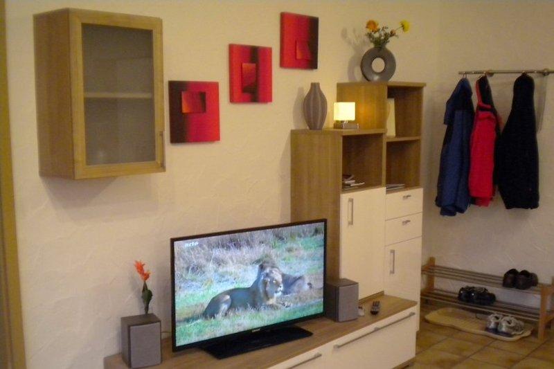 der Wohnraum mit Großbild-Fernseher