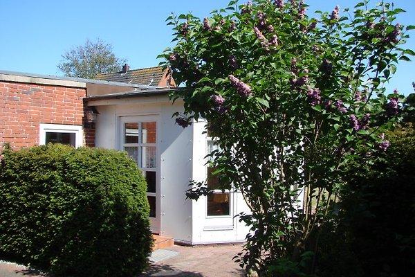 Der Eingang zum Bungalow liegt weit ab von der kleinen, kaum befahrenen Straße und führt in den weißen Wintergarten.