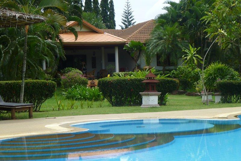 Der Pool und die Terasse