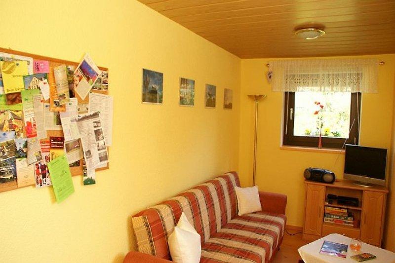 Wohnschlafzimmer mit Sofa, auch als Schlafsofa, Tisch und Stühle, Flachbild SAT - TV