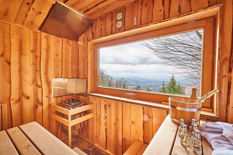 Blick aus der Sauna