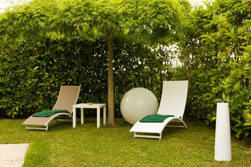 The garden is well furnished.