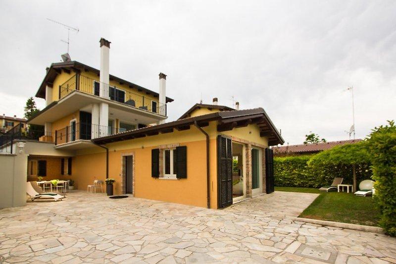 Villa entrance and garden.