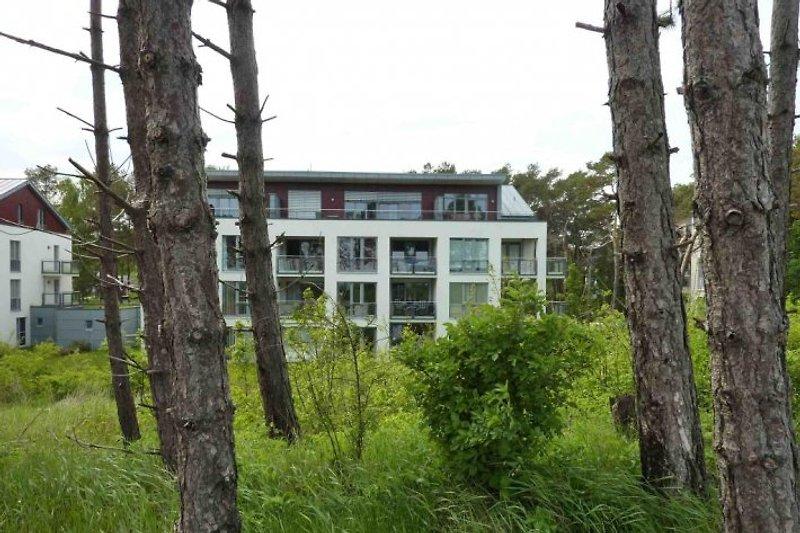 Von der Düne sehen Sie das 25 Meter entfernte Appartmenthaus, in dem sich die Ferienwohnung befindet.