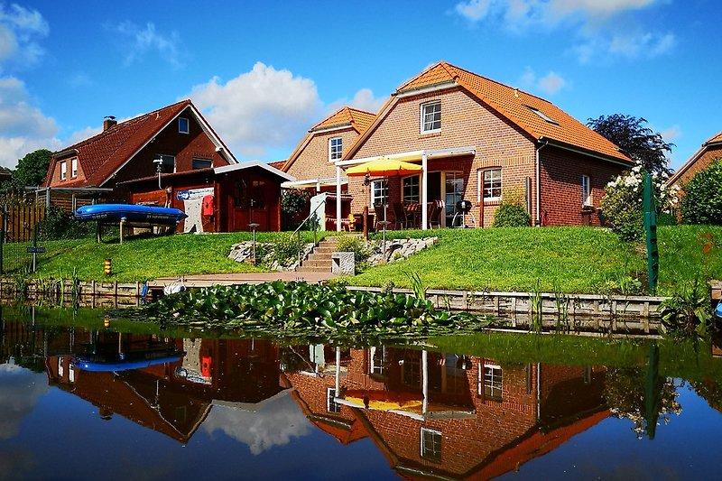 Blick vom Wasser auf Haus und Garten