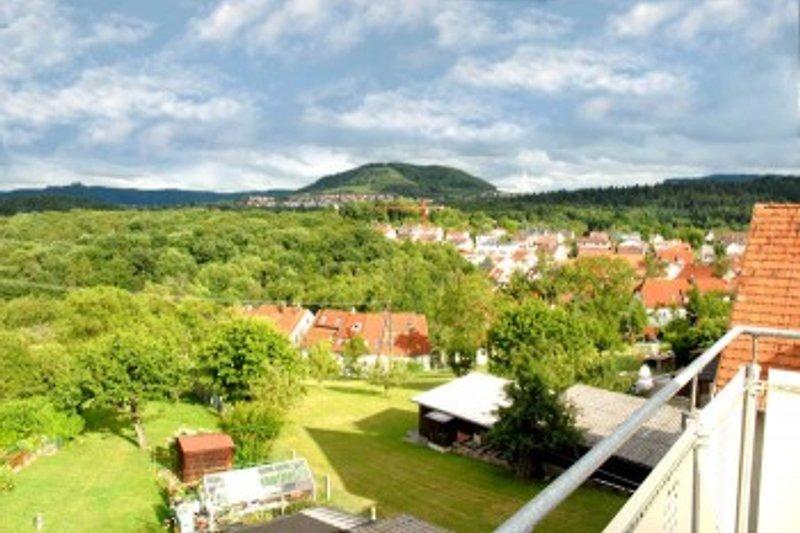 Aussicht auf den Berg Jusi von der Terrasse