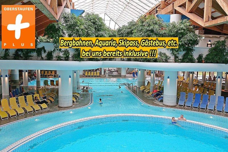 Für unsere Gäste gratis: das Genießer- und Erlebnisbad Aquaria mit u.a. großem Saunaparadies, Solebecken, Außenwarmwasserbecken & Whirlpools