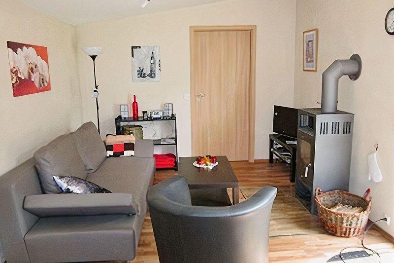 Wohnzimmer mit Holzkaminofen