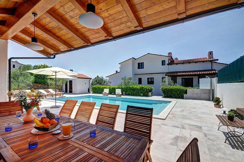 Sommerterrasse Blick auf den Pool