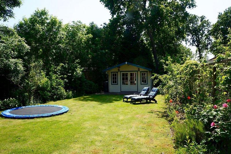 Der sonnige, umzäunte Garten mit Trampolin
