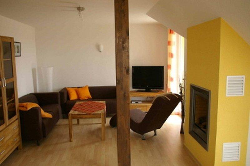 Ferienwohnung in Göhren Lebbin am Fleesensee Blick in das Wohnzimmer