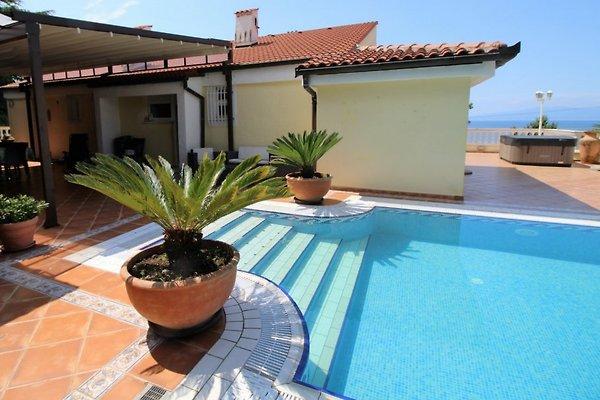 Der Pool mit Terrassen und Meerblick