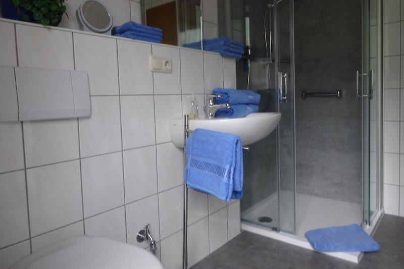 Bad mit Tageslicht  und neue ebenerdige Glasdusche