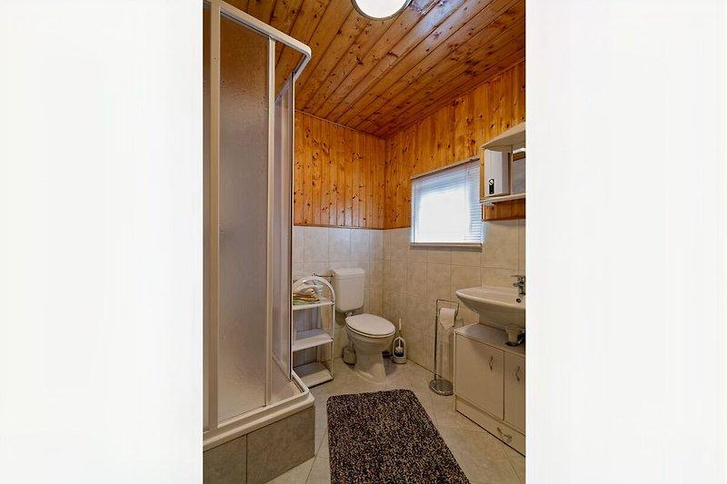 Bad mit Dusche und WC Ferienwohnung Kölpinsee