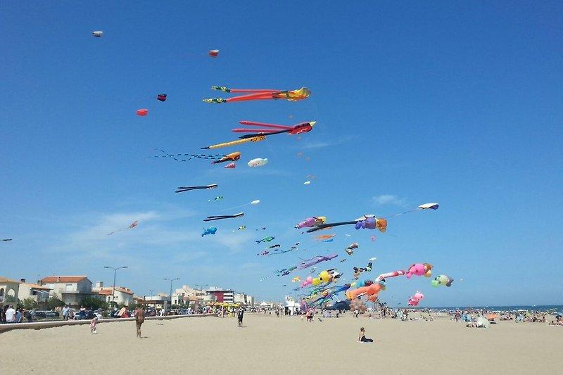 jährliche Drachenparty am Strand