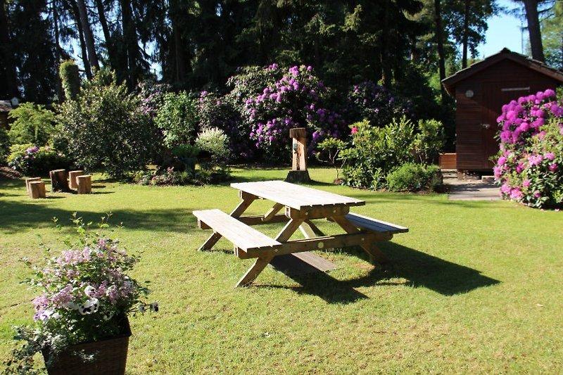 Holz-Essplatz mitten im Garten