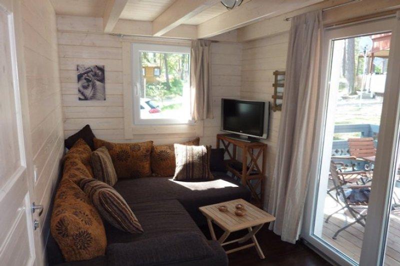 Wohnzimmer mit Ausziehcouch und Terrassenblick ins Kiefernwäldchen
