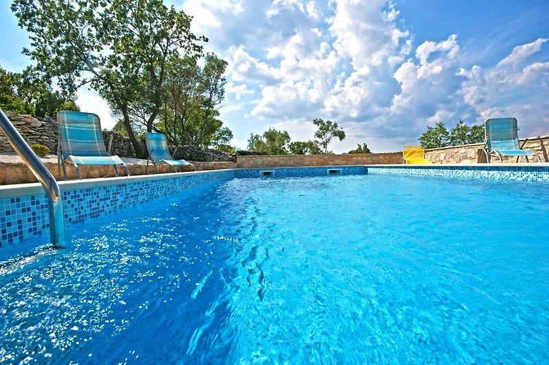 Großer und privater Pool mit vielen Sonnenliegen