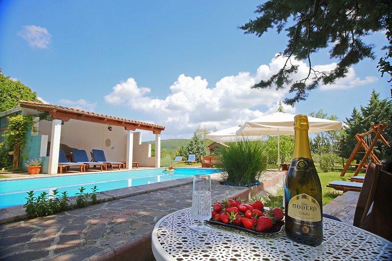 Eine überdachte Terrasse und ein Esstisch sind perfekt über dem Pool platziert