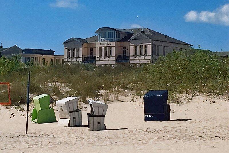 Blick zur Villa Anna vom Strand