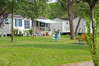 The mobile home is located in the popular holiday village