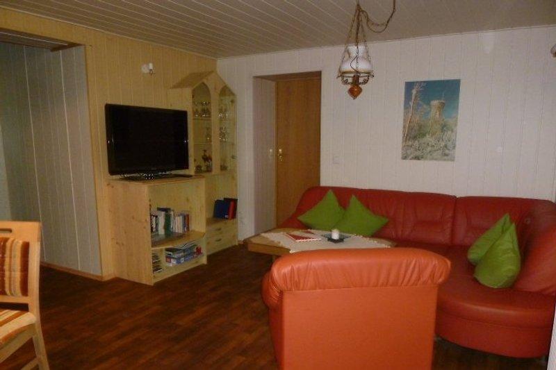 unser gemütlich eingerichtetes Wohnzimmer mit Flachbildschirm, DVD-Player und Radio
