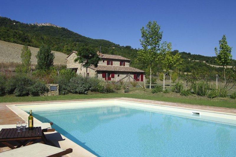 Blick vom Pool zur Villa