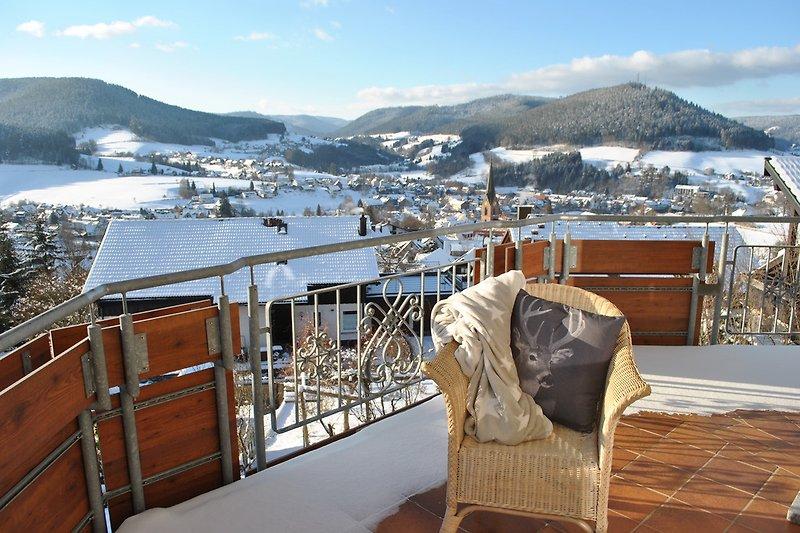 Winteraussicht vom Balkon