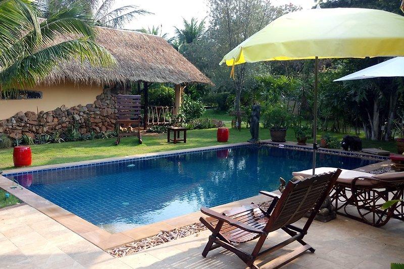 Pool mit Sicht aufs Haus