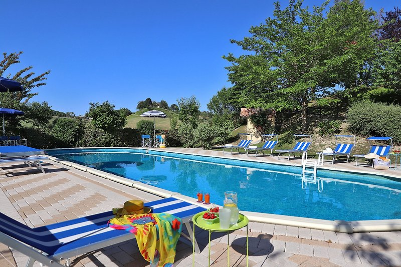 Villa Amata - Pool 15x5 equipped with sunbeds and umbrellas