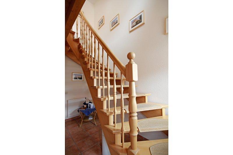 Bequeme Treppe zur oberen Wohnung Austernfischer