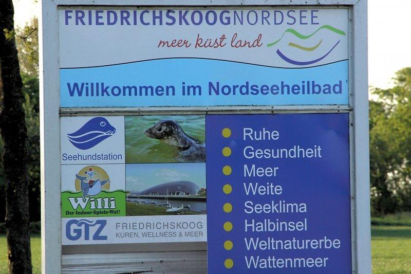 Schild willkommen in Friedrichskoog