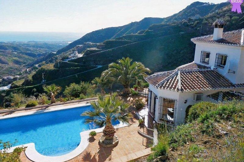 Haus und Pool von oben