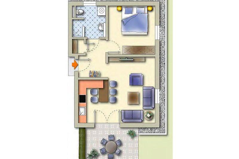 Der Grundriss mit Möbel