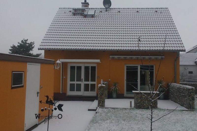 Adler-Ferienhaus im Winter