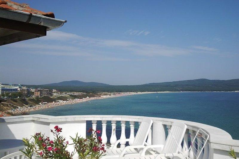 Die Aussicht zur Bucht und Strand
