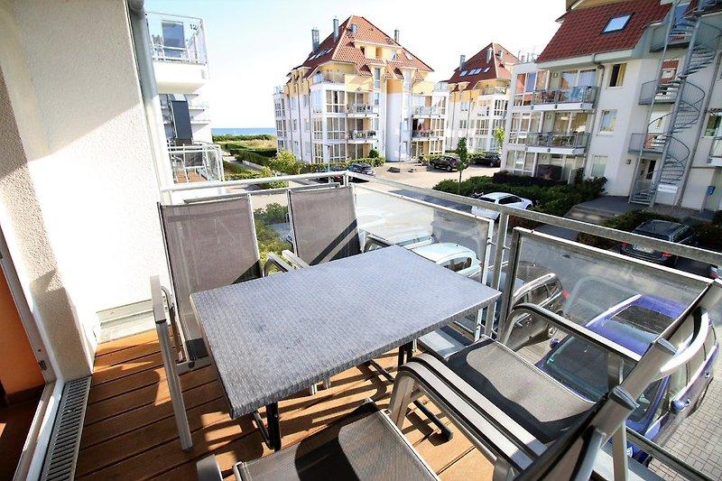 Blick vom Balkon im 1. OG unserer Wohnung Ostseebrise 6