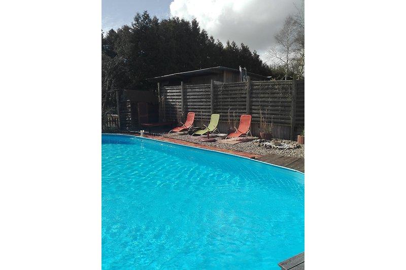 Der 5,5 x 10 m große Pool