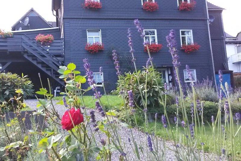 Ferienhaus vom Garten aus.