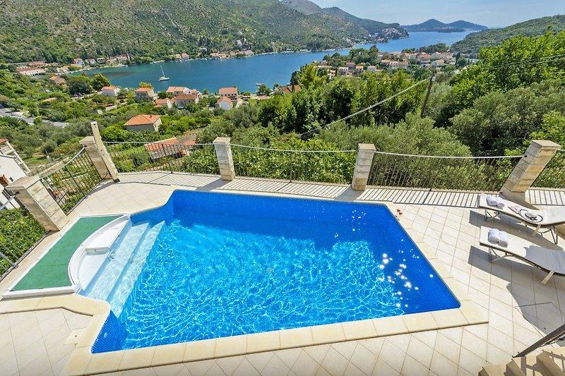 Villa Camelia - Pool mit Blick aufs Meer