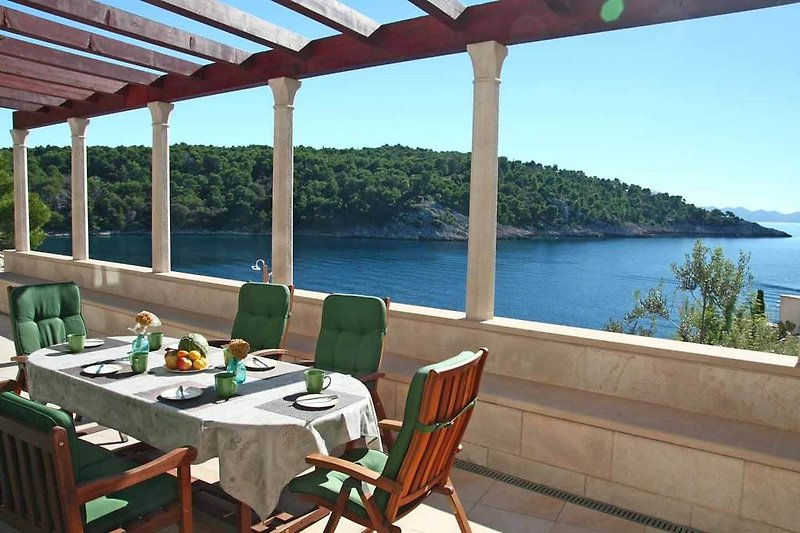 Dining terrace with sea view