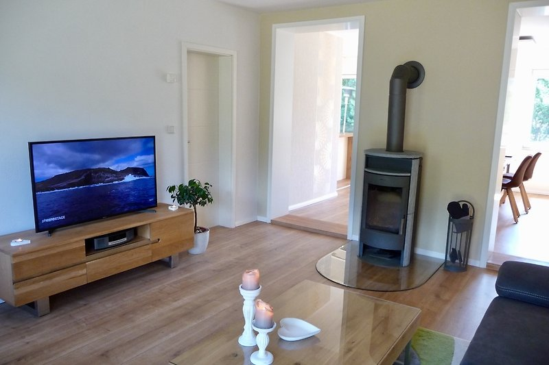 Wohnzimmer mit Flat-TV und Kaminofen