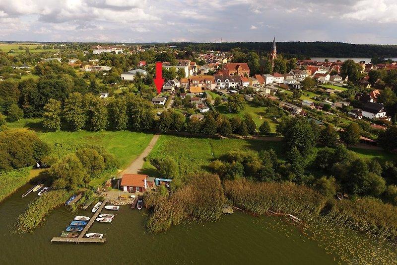 Luftbild Ferienhaus am Wariner See